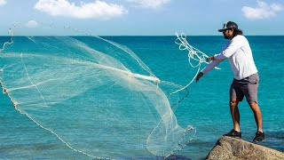 Most Satisfying Cast Net Fishing Video - Big Catch Hundreds Tons Fish Under Ice