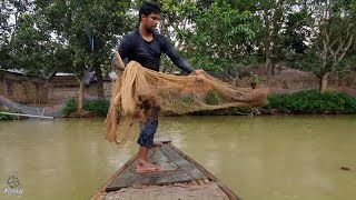 Net Fishing | Big Fish Catching With Cast Net | Net Fishing in the Village Pond
