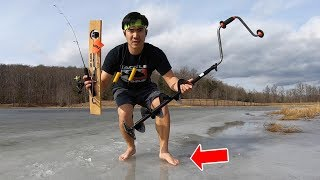 ABSURD ICE FISHING CHALLENGE on a SKETCHY Lake... (BAD IDEA!!!)