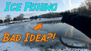 ICE FISHING a HALF FROZEN Pond?! (Surprising Result)